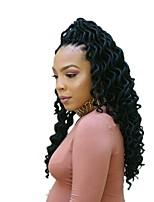 billige -dreadlocks 1pack Hårkrøller Krøllet 45cm Afrikanske fletninger 100 % Kanekalon hår Sort Fletning af hår Hår Ekstensions