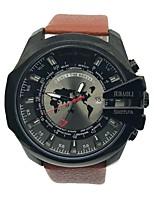 Недорогие -Муж. Наручные часы Китайский Кварцевый Крупный циферблат Кожа Группа На каждый день Cool Черный Коричневый