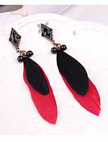 cheap -Women's Drop Earrings Bohemian Lovely Feather Alloy Jewelry For Party Daily