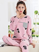 cheap -Women's Suits Pajamas,Print Print Cotton Blushing Pink