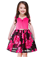 Girl's Going out Casual/Daily Solid Flower/Floral Embroidered Dress,Cotton Polyester Spring, Fall, Winter, Summer All Seasons Sleeveless