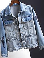 Недорогие -Для женщин Повседневные Осень Джинсовая куртка Рубашечный воротник,На каждый день Однотонный Обычная Длинные рукава,Хлопок