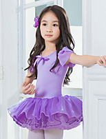 Kids' Dancewear Leotards Children's Training Cotton Bow(s) Short Sleeve Natural Leotard