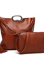 cheap -Women Bags PU Bag Set 2 Pieces Purse Set Zipper for Casual Office & Career All Season Wine Brown Coffee Gray Black