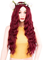 Women Synthetic Wig Long Water Wave Red Middle Part Layered Haircut Party Wig Costume Wig