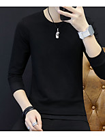cheap -Men's Cotton Street chic Sweatshirt Solid Round Neck Micro-elastic Cotton Polyester Eco-friendly Polyester Long Sleeves Autumn/Fall