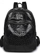 cheap -Unisex Bags Sheepskin Backpack Beading Zipper for Casual All Season Black
