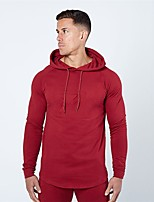 cheap -Men's Daily Hoodie Solid Hooded Micro-elastic Polyester Long Sleeve Winter Autumn/Fall