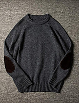 cheap -Men's Daily Casual Short Pullover,Solid Round Neck Long Sleeves Wool Blend Winter Fall Thick strenchy