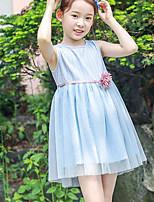 Robe Fille de Vacances Couleur Pleine Polyester Eté Sans Manches simple Bleu