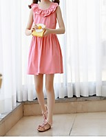 Girl's Casual/Daily Solid Dress,Polyester Spring Summer Sleeveless Simple Blushing Pink