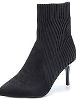abordables -Mujer Zapatos PU Invierno Confort Botas Tacón Stiletto Dedo Puntiagudo para Casual Negro Gris