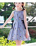 Girl's Holiday Casual/Daily Striped Dress,Polyester Summer Sleeveless Simple Blue