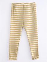 economico -Pantaloni Da ragazza Cotone A strisce Autunno Semplice Bianco Nero Giallo