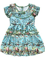 Girl's Casual/Daily Floral Dress,Polyester Winter Fall Sleeveless Simple Green