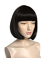 economico -Donna Parrucche sintetiche Pantaloncini Kinky liscia Nero Attaccatura dei capelli naturale Con frangia Parrucca Cosplay Parrucca naturale