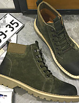 cheap -Men's Shoes Real Leather Pigskin Winter Fall Comfort Combat Boots Boots Booties/Ankle Boots for Casual Khaki Army Green Gray
