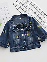 Girls' Embroidery Jacket & Coat,Cotton Long Sleeve Blue