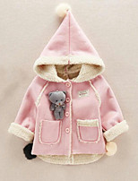 cheap -Girls' Color Block Jacket & Coat,Polyester Long Sleeves Cute Active Blushing Pink Light Blue
