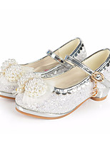 cheap -Girls' Shoes Paillette Spring Fall Tiny Heels for Teens Heels Bowknot Buckle for Casual Pink White