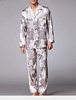 abordables -Costumes Pyjamas Homme Fin Polyester Noir Gris Kaki
