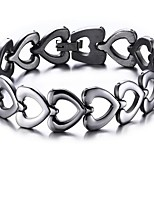cheap -Men's Women's Chain Bracelet , Fashion Stainless Steel Heart Jewelry Gift Daily