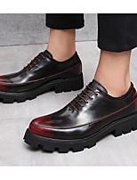 Недорогие -Для мужчин обувь Кожа Весна Осень Удобная обувь Туфли на шнуровке для Повседневные Золотой Черный Вино