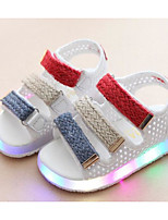 cheap -Girls' Shoes Synthetic Microfiber PU Spring Summer Comfort Sandals Walking Shoes Magic Tape for Casual White Black Pink