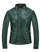 cheap -Women's Going out Simple Winter Fall Leather Jacket,Solid Round Neck Long Sleeve Regular Polyester Oversized
