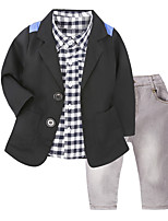 cheap -Boys' Daily School Houndstooth Clothing Set,Cotton All Seasons Long Sleeve Casual Street chic Black