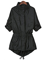 cheap -Women's Daily Casual Fall Trench Coat,Solid Hooded Long Sleeve Regular Polyester