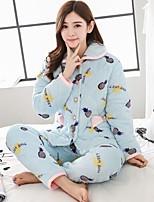 abordables -Costumes Pyjamas Femme,Imprimé Imprimé Coton Bleu Rose Claire