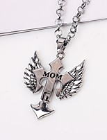 cheap -Men's Cross Wings / Feather Casual Hiphop Fashion Pendant Necklace Chain Necklace , Alloy Pendant Necklace Chain Necklace , Gift Daily