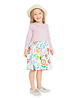 cheap -Girl's Daily Holiday Striped Print Dress,Cotton All Seasons Long Sleeves Cute Casual Blushing Pink