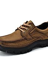Недорогие -Муж. обувь Кожа Весна Лето Удобная обувь Туфли на шнуровке для Повседневные Коричневый Хаки