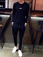 cheap -Men's Petite Casual/Daily Simple Set Solid Striped Round Neck Without Lining Micro-elastic Polyester Long Sleeve Autumn/Fall