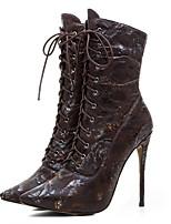 Недорогие -Для женщин Обувь Дерматин Зима Модная обувь Ботинки На шпильке Сапоги до середины икры для Повседневные Для праздника Черный Темно-русый