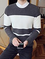 Недорогие -Для мужчин На каждый день Короткий Пуловер Контрастных цветов,Круглый вырез Длинный рукав Смесь шерсти Зима Осень Толстая Слабоэластичная