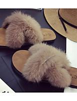 cheap -Women's Shoes Flocking Spring Fall Comfort Slippers & Flip-Flops Flat Heel for Casual Khaki Black White