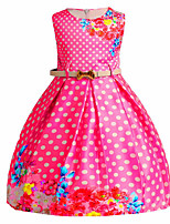cheap -Girl's Going out Casual/Daily Solid Floral Round Dots Dress,Cotton Polyester Spring Summer Sleeveless Cute Active Princess Blue Fuchsia