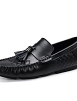 cheap -Men's Shoes Nappa Leather Spring Fall Moccasin Comfort Loafers & Slip-Ons for Casual Party & Evening Black