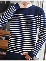cheap -Men's Casual/Daily Simple Long Pullover,Striped Round Neck Long Sleeves Polyester Spring Fall Thick Micro-elastic