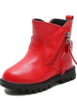 cheap -Girls' Shoes Leatherette Spring Fall Comfort Snow Boots Boots Walking Shoes Mid-Calf Boots Buckle Zipper For Casual Red Black