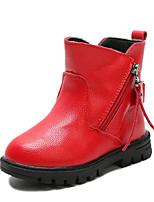 preiswerte -Mädchen Schuhe Kunstleder Frühling Herbst Komfort Schneestiefel Stiefel Walking Mittelhohe Stiefel Schnalle Reißverschluss für Normal