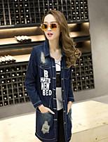 economico -Giacca di jeans Da donna Quotidiano Casual Inverno Autunno,Con stampe Colletto Cotone Standard Maniche lunghe