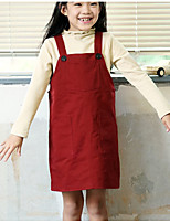 Girl's Christmas Solid Dress,Cotton Winter Fall Long Sleeves Vintage Wine