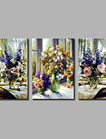 cheap -Hand-Painted Still Life Horizontal Panoramic,Comtemporary Canvas Oil Painting Home Decoration Three Panels