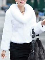 economico -Cappotto di pelliccia Da donna Casual Semplice Inverno Autunno,Tinta unita A V Pelliccia sintetica Corto Maniche lunghe Colletto di