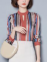 abordables -Tee-shirt Femme,Rayé Imprimé Sortie Sophistiqué Printemps Automne Manches longues Col Arrondi Polyester Moyen