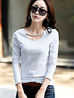 cheap -Women's Daily Vintage Winter Spring T-shirt,Solid Round Neck Long Sleeve Cotton Medium